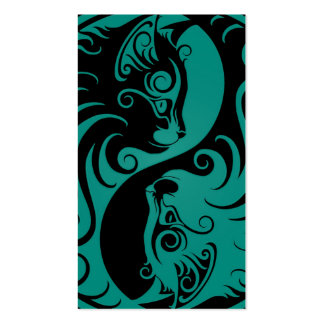 Teal Blue and Black Yin Yang Cats Business Cards