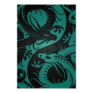 Teal Blue and Black Yin Yang Chinese Dragons Card
