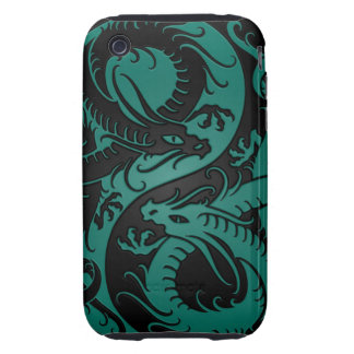 Teal Blue and Black Yin Yang Chinese Dragons iPhone 3 Tough Covers