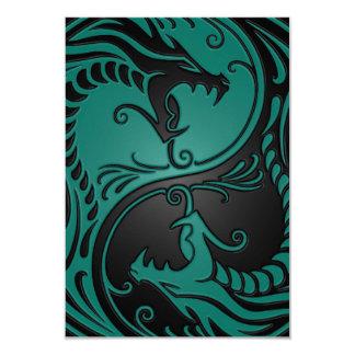 Teal Blue and Black Yin Yang Dragons Card