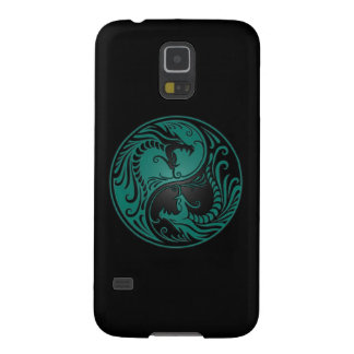 Teal Blue and Black Yin Yang Dragons Case For Galaxy S5