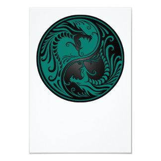 Teal Blue and Black Yin Yang Dragons 3.5x5 Paper Invitation Card