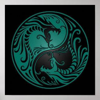 Teal Blue and Black Yin Yang Dragons Poster