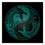 Teal Blue and Black Yin Yang Dragons Print