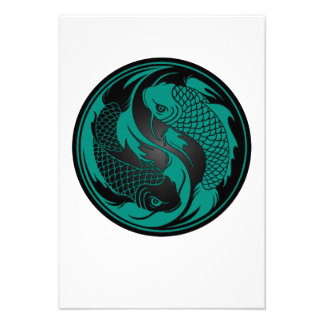 Teal Blue and Black Yin Yang Koi Fish Announcement