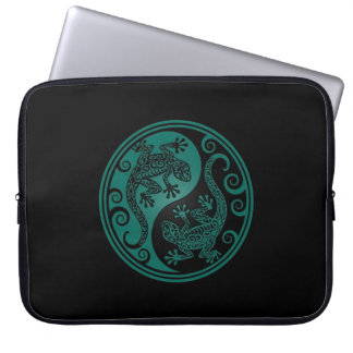 Teal Blue and Black Yin Yang Lizards Laptop Sleeves