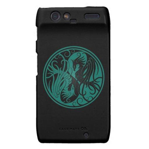 Teal Blue and Black Yin Yang Phoenix Motorola Droid RAZR Case