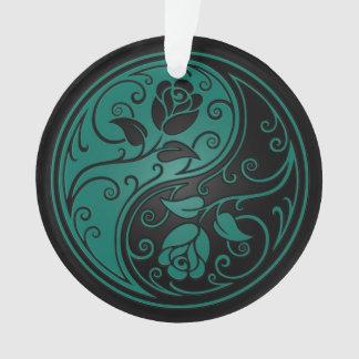 Teal Blue and Black Yin Yang Roses