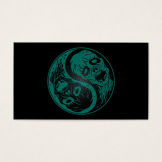Teal Blue and Black Yin Yang Zombies Business Card