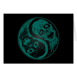 Teal Blue and Black Yin Yang Zombies Card