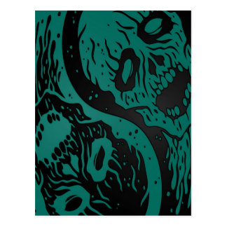 Teal Blue and Black Yin Yang Zombies Postcard
