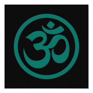 Teal Blue and Black Yoga Om Circle 5.25x5.25 Square Paper Invitation Card