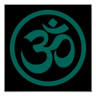 Teal Blue and Black Yoga Om Circle Poster