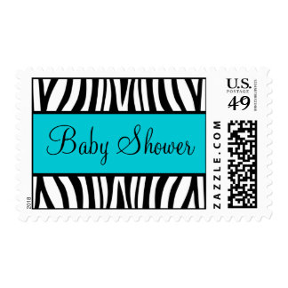 Teal Blue and Black Zebra Baby Shower Postage Stamps