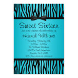 Teal Blue and Black Zebra Bow Sweet 16 Birthday Invite