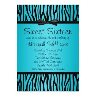 Teal Blue and Black Zebra Bow Sweet 16 Birthday Invite