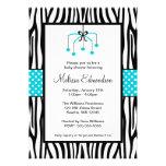 Teal Blue and Black Zebra Heart Mobile Baby Shower Custom Invitations