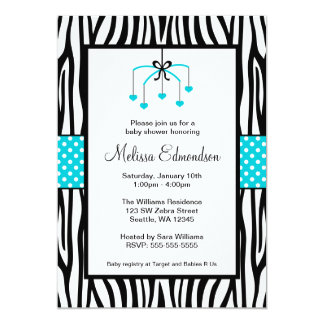 Teal Blue and Black Zebra Heart Mobile Baby Shower 5x7 Paper Invitation Card