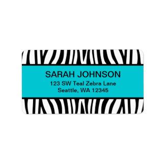 Teal Blue and Black Zebra Custom Address Labels