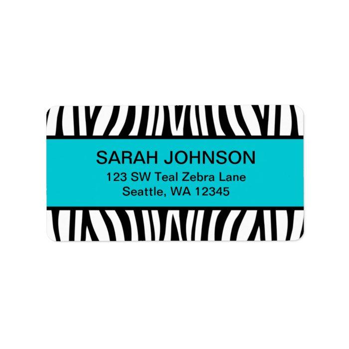 Teal Blue and Black Zebra Label | Zazzle