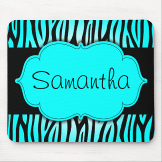 Teal Blue and Black Zebra Personalized Mouse Pad