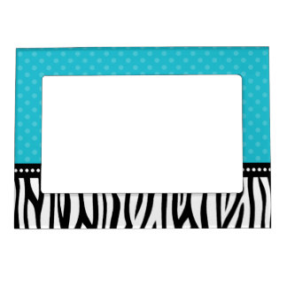 Teal Blue and Black Zebra Polka Dot Magnetic Photo Frame