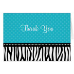 Teal Blue and Black Zebra Polka Dot Thank You Stationery Note Card