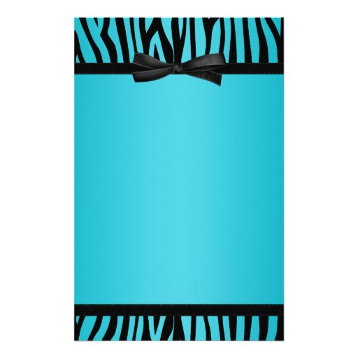 Teal Blue and Black Zebra Printed Bow Stationery | Zazzle