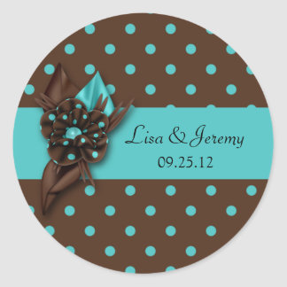 Teal Blue and Brown Polka Dot Save The Date Sti Classic Round Sticker