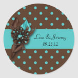 Teal Blue and Brown Polka Dot Save The Date Sti Round Stickers