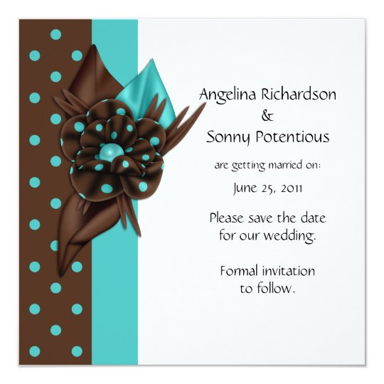 Teal Blue and Brown Polka Dots Save The Date Card