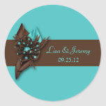 Teal Blue and Brown Save The Date Sticker