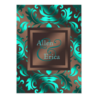 Teal Blue and Chocolate Brown Wedding Card
