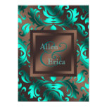 Teal Blue and Chocolate Brown Wedding Announcements