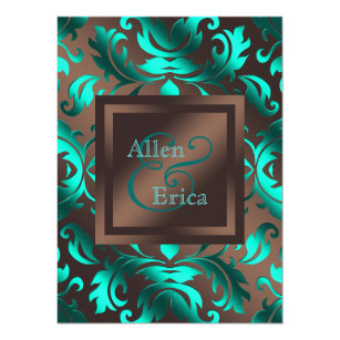 Teal And Brown Wedding Invitations | Zazzle