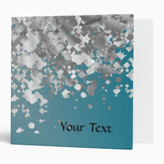 Teal blue and faux glitter 3 ring binder