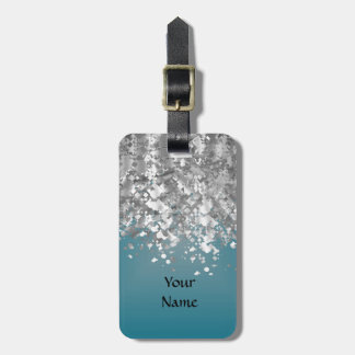Teal blue and faux glitter bag tag