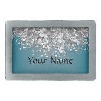 Teal blue and faux glitter belt buckle