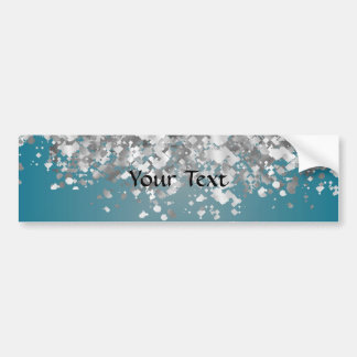 Teal blue and faux glitter bumper sticker