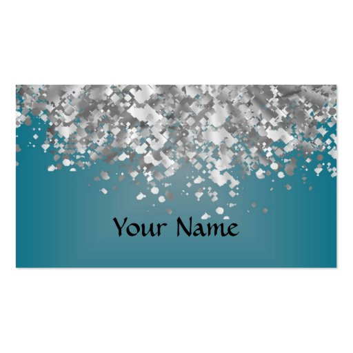 Teal blue and faux glitter Double Sided standard business