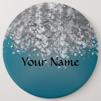 Teal blue and faux glitter button
