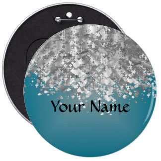 Teal blue and faux glitter pinback button