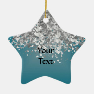 Teal blue and faux glitter ceramic ornament