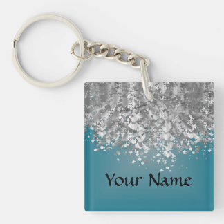 Teal blue and faux glitter keychain