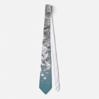 Teal blue and faux glitter neck tie