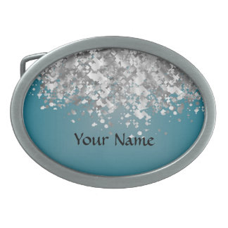 Teal blue and faux glitter oval belt buckle