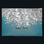 """Teal blue and faux glitter placemat<br><div class=""""desc"""">Easily personalize this chic elegant girly faux silver metallic glitter sparkle bling and teal blue satin look modern patterned background with your custom text, name or monogram initials to make a unique sophisticated personalized gift. Click Customize to adjust the text / font size or style. PLEASE NOTE the silver is...</div>"""