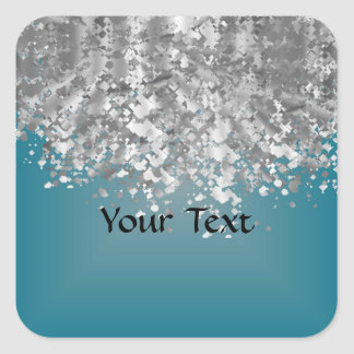 Teal blue and faux glitter square sticker