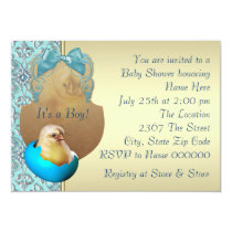 Teal Blue and Gold Baby Chick Shower Invitation