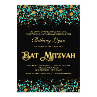 Teal Blue and Gold Bat Mitzvah 5x7 Paper Invitation Card